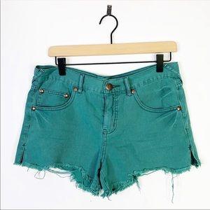 Free People Teal Green Raw Hem Distressed Shorts